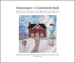 This book has been created to commemorate the Homescapes Quilt Project initiated by Colette Schmidt in 2005. 98 pages, softcover, 42 illustrations; Introduction by Colette Schmidt, Afterword by Laureen Marchand The individual blocks of the quilt are accompanied by a family story by the person who made the block. Published through PWSS, produced by Harland Press printed by Blitzprint